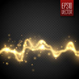 Golden abstract energy shock effect . Electric discharge isolated. Vector illustration Royalty Free Stock Photography