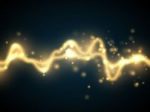 Golden abstract energy shock effect . Electric discharge isolated. Vector illustration. Golden abstract energy shock effect with many glowing particles. Electric Stock Images