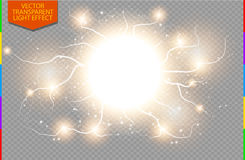 Golden abstract energy shock explosion special light effect with spark transparency in additional format only Stock Photography