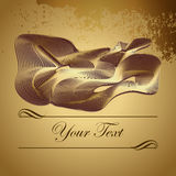Golden abstract figure of intertwined lines. Business card, award, bonus. Place for text. Congratulations card. Vector Illustration. EPS Royalty Free Stock Photos