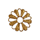Golden abstract flower illustration. Hand painted floral element on white background. Royalty Free Stock Images