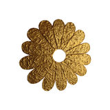 Golden abstract flower illustration. Hand painted floral element on white background. Stock Photography