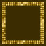 Golden abstract frame, border with space for text or photo. Geometric print composed of big golden squares on dark background. Imi. Tation of gold mosaic Royalty Free Stock Photography