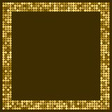 Golden abstract frame with space for text or photo. Geometric print composed of golden circles on dark background. Imitation of go. Ld mosaic vector illustration