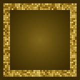Golden abstract frame with space for text or photo. Geometric print composed of golden squares on dark background. Imitation of go. Ld mosaic Stock Photography