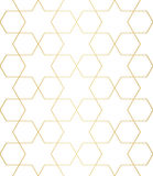 Golden abstract geometric pattern with rhombus, stars and squares vector illustration Stock Photo