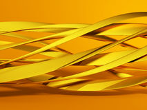 Golden abstract glossy waves smooth background. 3d render illustration Royalty Free Stock Image