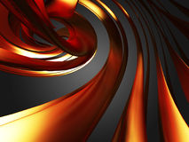 Golden abstract glossy waves smooth background. 3d render illustration Stock Images