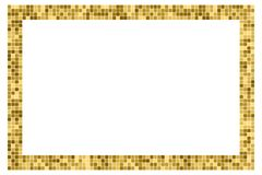 Golden abstract rectangular frame with copy space for text or photo. Geometric print composed of golden squares on white. Background. Imitation of gold mosaic stock illustration
