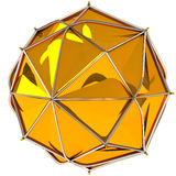 Golden abstract sphere. Abstract gold 3d faceted sphere Royalty Free Stock Images