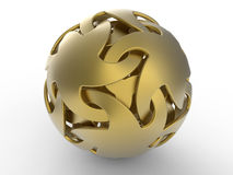 Golden abstract sphere-stars shape. 3D render illustration of a sphere composed of multiple stars shapes. The composition is isolated on a white background with Stock Illustration