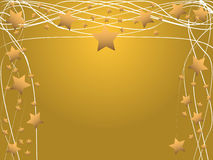 Golden abstract stars and lines frame. Stars and curved lines arranged in a 3 sided border stock illustration
