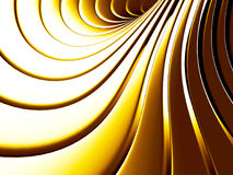 Golden abstract stripe spiral background. 3d render illustration Royalty Free Illustration
