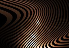 Golden abstract striped waves Stock Images