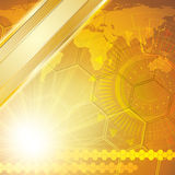 Golden abstract tech background Stock Images