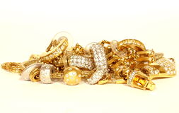 Golden accessories isolated Stock Image