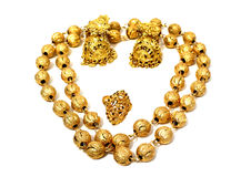 Golden accessories isolated Stock Images