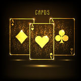 Golden ace playing card for casino concept. Royalty Free Stock Image