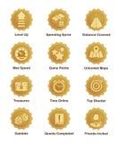 Golden achievement badges for shooter, runner, arcade game stock illustration