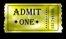 Golden admit one ticket Royalty Free Stock Photography