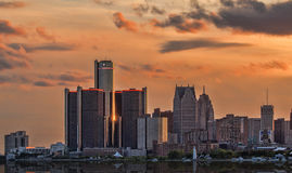 The Golden Again Returns. After having been through some of the toughest times in the nation, the City of Detroit is making a comeback. This view of the Detroit Stock Photo