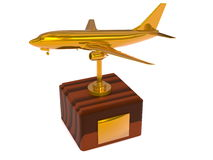 Golden airplane trophy Stock Images
