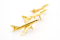Golden Airplanes Stock Photo