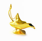 Golden Aladdin magic genie lamp isolated Royalty Free Stock Image