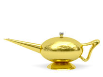 Golden Aladdin's lamp disposed horizontally Royalty Free Stock Images
