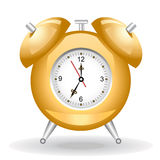 Golden alarm clock. Antique golden alarm clock. Vector Illustration Isolated on background Stock Photography