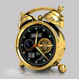 Golden alarm clock 3. Exclusive mechanical alarm clock with a tourbillon, a gold case on a gray background with reflection Royalty Free Stock Image