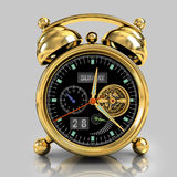 Golden alarm clock 1. Exclusive mechanical alarm clock with a tourbillon, a gold case on a gray background with reflection Stock Photography