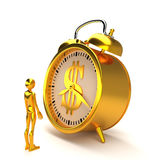 Golden alarm clock and figure. 3D rendering. Royalty Free Stock Photos