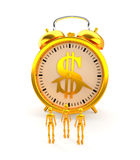Golden alarm clock and figures. 3D rendering. Stock Image