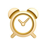 Golden alarm clock. Isolated on white background Stock Photo
