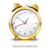 Golden alarm clock isolated on white background. Vector illustration Stock Images
