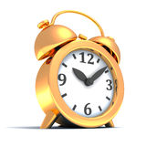 Golden alarm clock on white background Royalty Free Stock Photography