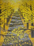 Golden alley. This is a photocopy of my own picture. Oil painting. Alley of trees with golden leaves, autumn Royalty Free Stock Photography