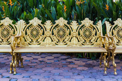 Golden alloy vintage chair. Stock Images
