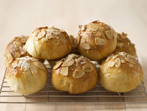 Golden almond buns Stock Images