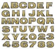 Golden alphabet stock image