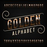 Golden alphabet font. Metal effect letters and numbers with diamond gemstones. stock illustration
