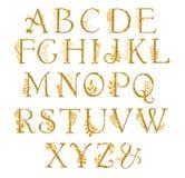 Golden alphabet with gold frolal design. Unique collection for wedding invites decoration other concept ideas. Monogram design stock illustration
