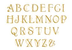 Golden alphabet with gold geometric shape crystal. Unique collection for wedding invites decoration other concept ideas. Monogram design royalty free illustration