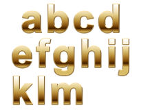 Gold Letters. Set of shiny gold lower case alphabet letters from a to m, isolated on white background Royalty Free Stock Image