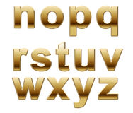 Gold Letters. Set of gold alphabet letters from n to z isolated on white background Royalty Free Stock Photography