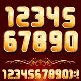 Golden Alphabet. Set of Metallic Numbers Vector. Original Golden Alphabet. Set of Luxury Metallic Numbers for Your Designs. Vector Set Stock Photography