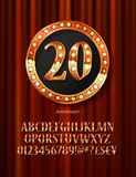 Golden alphabet with show lamps isolated. On on a background of red curtain. Example of a digit in a gold round frame. Anniversary 20. Vector liiustration Stock Photo