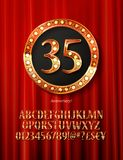 Golden alphabet with show lamps isolated. On on a background of red curtain. Example of a digit in a gold round frame. Anniversary 35. Vector liiustration Stock Photo