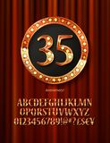 Golden alphabet with show lamps isolated. On on a background of red curtain. Example of a digit in a gold round frame. Anniversary 35. Vector liiustration Royalty Free Stock Photos